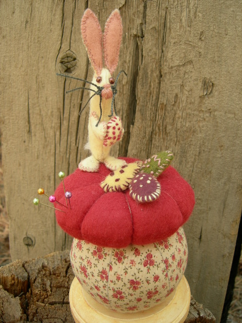 """SOLD:  NO glue used. Bunny is 9"""" tall mounted to a 4"""" base.  Original Frayed Muslin."""