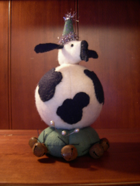 """SOLD::::::: Last One!!!  EVERY THING sewn on by hand! 9"""" tall  Click on picture for larger view. FABULOUS piece for pincushion or bovine collection.  Beautifully made with wool felt. WONDERFUL!!!!!"""
