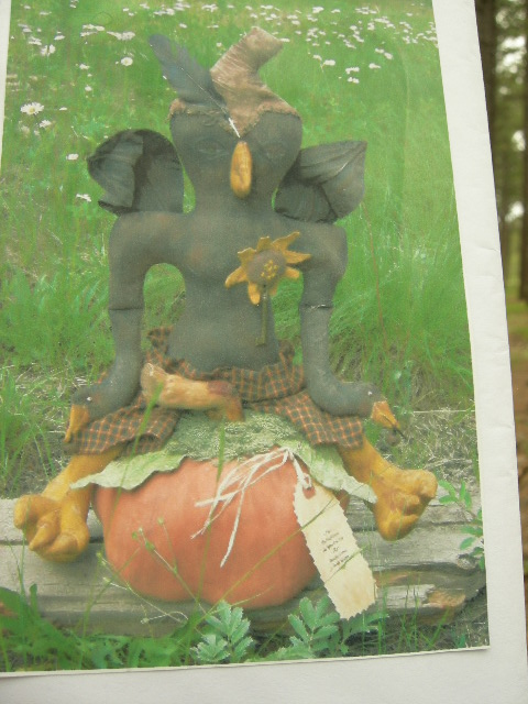"PATTERN: $15.00  $3.00 shipping.  Robin Hood Crow Guy.  Approx 28"" tall Pumpkin approximately  9"" across.  Great detailed pumpkin leaves. He has crow feet a beak and crows for hands.  Very exotic. CLICK ON PICTURE FOR LARGER VIEW."