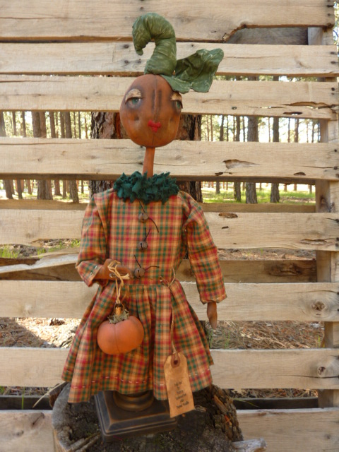 "SOLD shipping included.  21"" tall on a 4"" base. Pumpkin girl with her pumpkin. Halloween or any time.  More pictures and information available upon request."