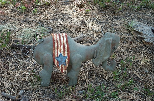 """PATTERN"" SOLD OUT $15.00 Shipping $3.00 Americana Elephant is 9"" tall and 14"" long."