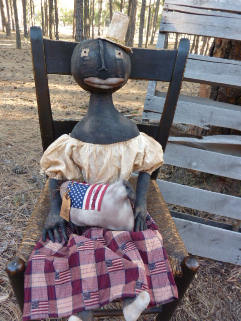 """SOLD: Click on picture to enlarge. This black Americana doll is a tall 32""""  Her sheep is 9"""" long.  Email for more information if needed."""