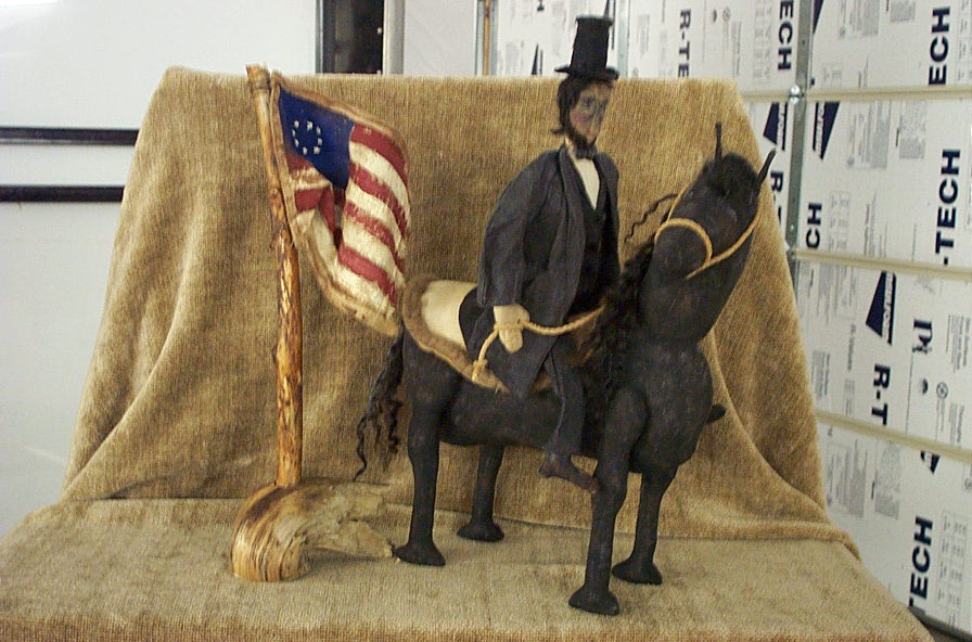 Abraham lincoln riding his black horse is a Frayed Muslin Original Design. Click on picture for a larger view.